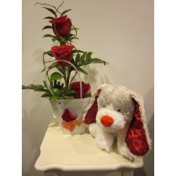 Bolsita rosas con peluche